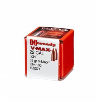 """Hornady V-MAX 22/.224"""" 55gr (Box of 100)"""