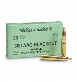 Sellier & Bellot .300 AAC Blackout Subsonic 200gr FMJ (Box of 20)