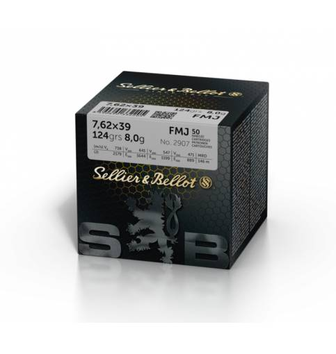 Sellier & Bellot 7.62 X 39 Soviet 124gr FMJ (Box of 50)