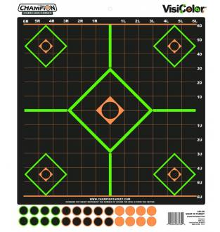 Champion Visicolor Sight-In Target 5 Pack w/130 pasters, Card