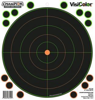 "Champion Visicolor 8"" Bulls-Eye Target 5 Pack w/40 pasters, Card"