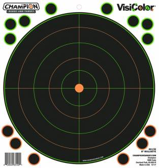 "Champion Visicolor 8"" Bulls-Eye Target 5 Pack w/40 pasters, Card"