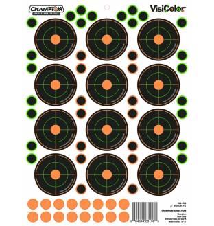 "Champion Visicolor 2"" Bulls-Eye Target 5 Pack w/60 pasters, Card"