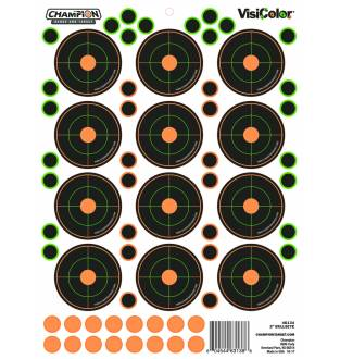 "Champion Visicolor 2"" Bulls-Eye Target 5 Pack w/60 pasters, Card"