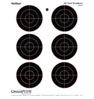 "Champion Visishot 25 yd Smallbore Circle 3"" Target 10 Pack, Card"